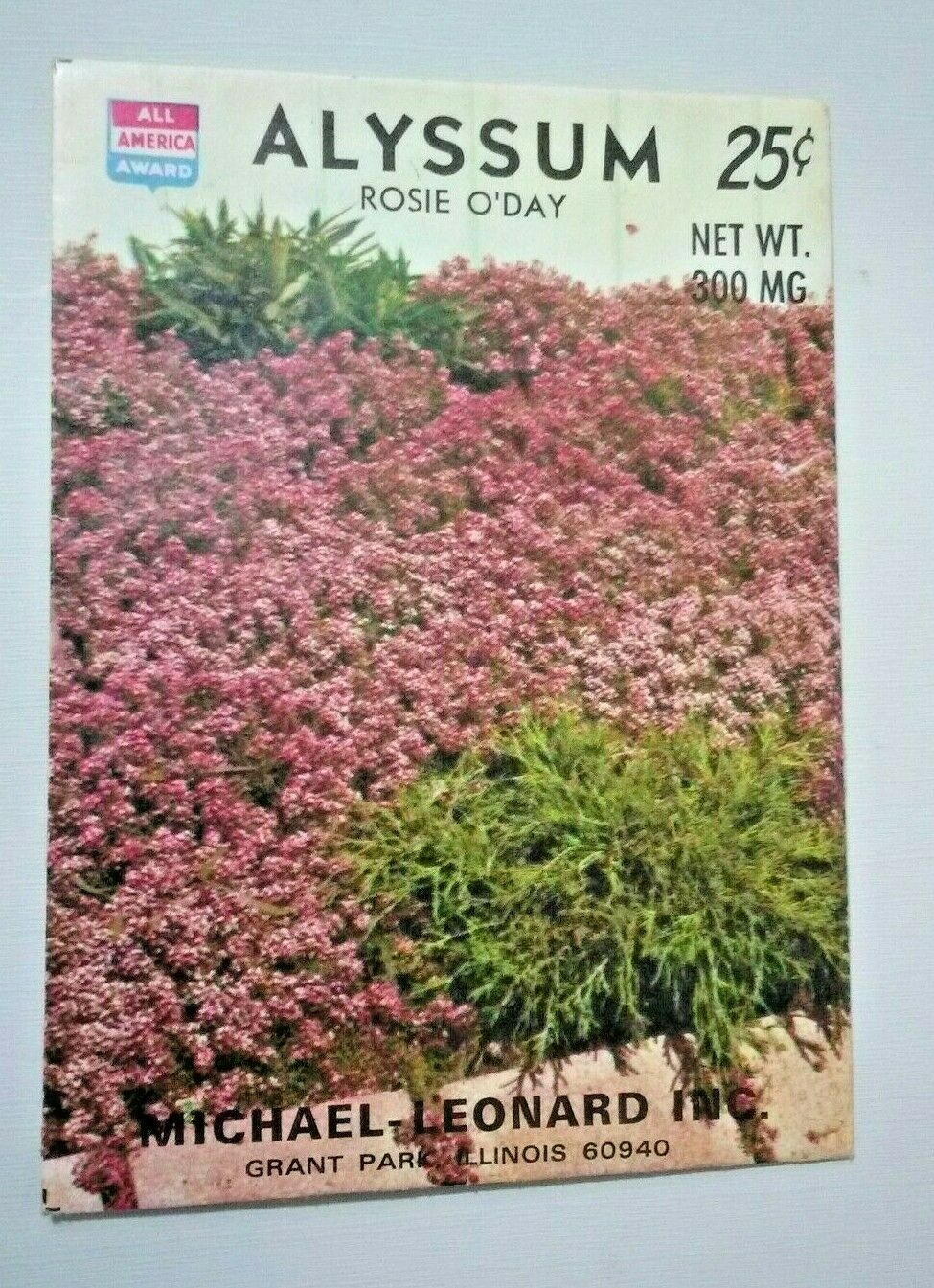 Vintage Seed PACKET For Art Display Alyssum Rosie O'Day