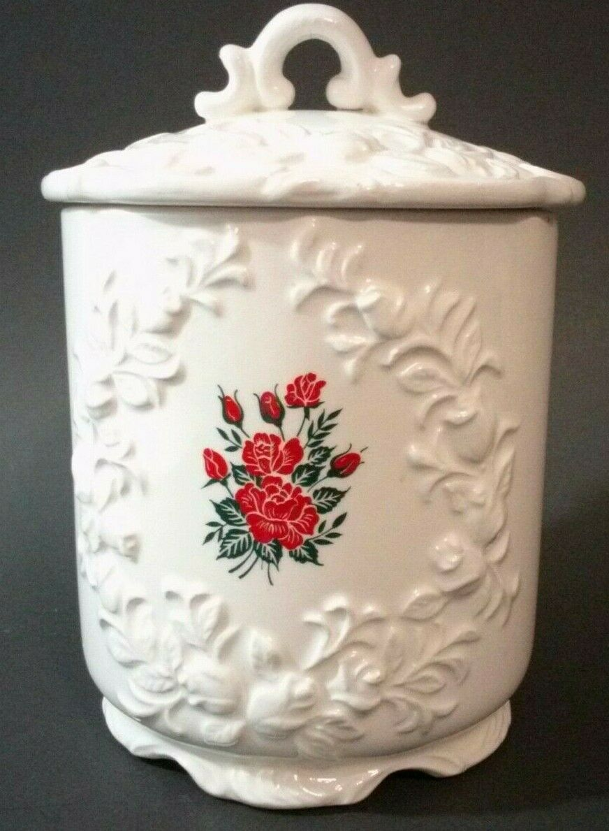 Enesco White Canister With Lid Red Rose Decal 5 3/4""