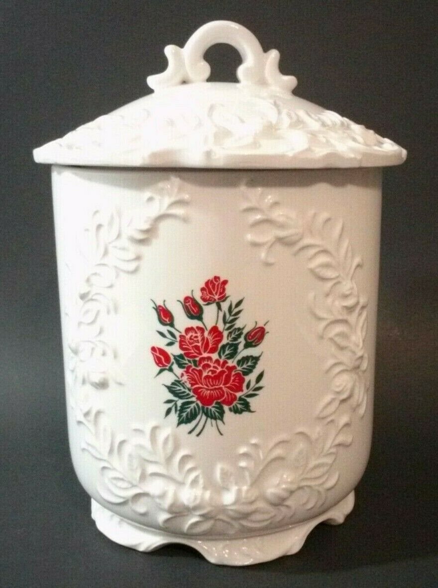 Enesco White Canister With Lid Red Rose Decal 8.5""