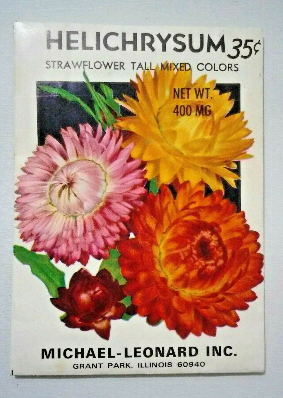 Vintage Seed PACKET For Art Display Strawflower Helichrysum